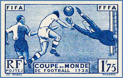 Stamp Collection Painting -  Fffa Fifa World Cup Soccer 1938 Stamp by Lanjee Chee