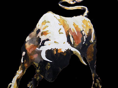 Painting -  Fight Bull In Black by J- J- Espinoza