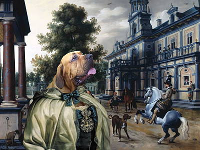 Painting -  Fila Brasileiro Art Canvas Print - Respected Lady In A Palace Garden by Sandra Sij