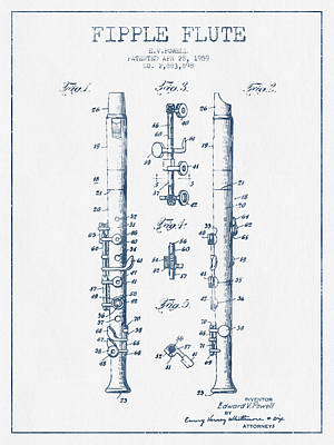 Flute Art Digital Art -  Fipple Flute Patent Drawing From 1959 - Blue Ink by Aged Pixel
