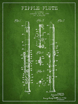 Flute Art Digital Art -  Fipple Flute Patent Drawing From 1959 - Green by Aged Pixel