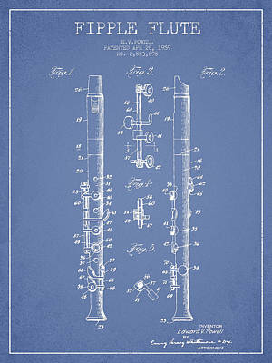 Flute Art Digital Art -  Fipple Flute Patent Drawing From 1959 - Light Blue by Aged Pixel