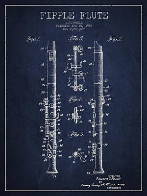 Flute Art Digital Art -  Fipple Flute Patent Drawing From 1959 - Navy Blue by Aged Pixel