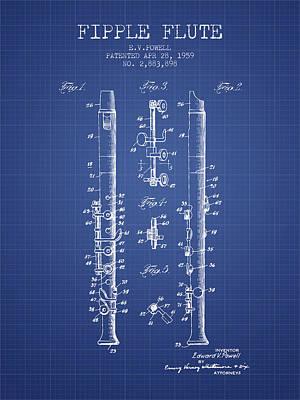 Flute Art Digital Art -  Fipple Flute Patent From 1959 - Blueprint by Aged Pixel