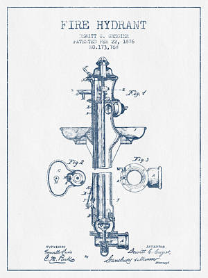 Digital Art -  Fire Hydrant Patent From 1876- Blue Ink by Aged Pixel