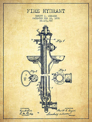 Digital Art -  Fire Hydrant Patent From 1876 - Vintage by Aged Pixel