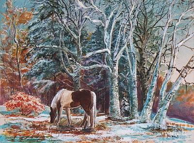 Art Print featuring the painting  First Snow by Joy Nichols