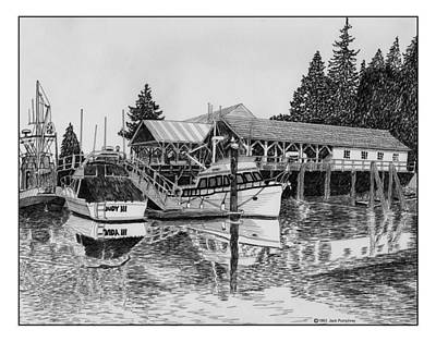 Drawing -  Net Shed Gig Harbor by Jack Pumphrey