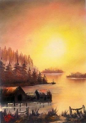 Bob Ross Painting -  Fisherman's Retreat. by Fineartist Ellen