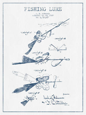 Fishing Lure Patent Drawing From 1929 - Blue Ink Art Print
