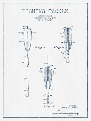 Fishing Tackle Patent Drawing From 1950 - Blue Ink Art Print