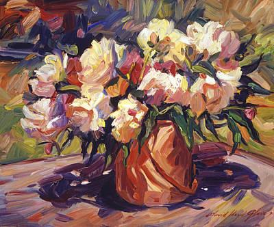Cut Flowers Painting -  Flower Bucket by David Lloyd Glover