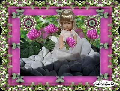 Flower Girl Upon Rocks Art Print by Cibeles Gonzalez