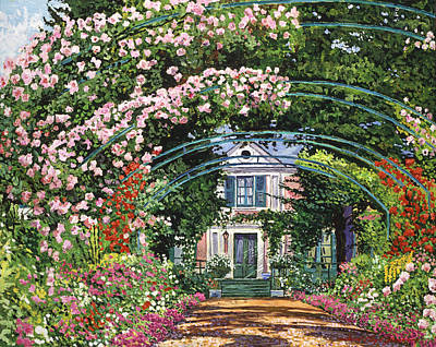 Pathway Painting -  Flowering Arbor Giverny by David Lloyd Glover