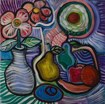 Painting -  Flowers With Fruit by Gwendolyn Aqui-Brooks