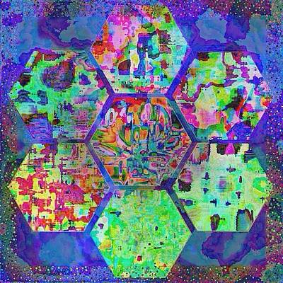 Digital Art -  Flowing Hexagon Flower  by Karen Buford