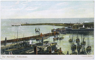 Folkestone Harbour Wall Art - Drawing -  Folkestone, Kent  The Harbour by Mary Evans Picture Library