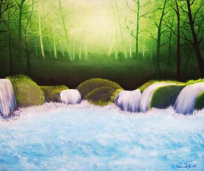 Forest Waterfall Original by Misuk Jenkins