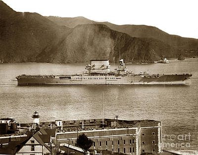 U.s.s. Lexington Cv-2 Fort Point Golden Gate San Francisco Bay California 1928 Art Print by California Views Mr Pat Hathaway Archives