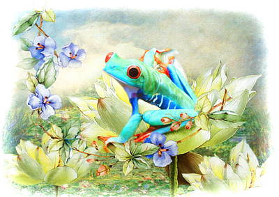 Lilies Digital Art -  Frog On The Flowers by Trudi Simmonds