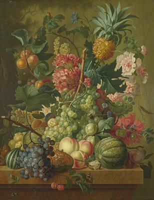 Fruit And Flowers  Art Print by Paulus Theodorus van Brussel