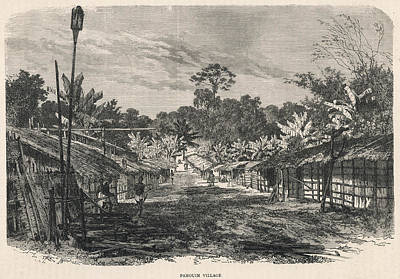 Gabon Drawing -  Gabon, West Africa  A Pahouin Village by Mary Evans Picture Library