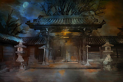 Gate Mixed Media -  Gate..asian  Moon. by Andrzej Szczerski