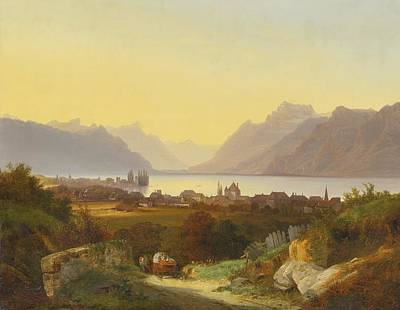 Leman Painting -  Geneva Lake View From Vevey by Celestial Images