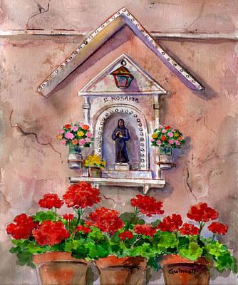 Painting -  Geraniums And Santa Rosalia by Kathleen  Gwinnett