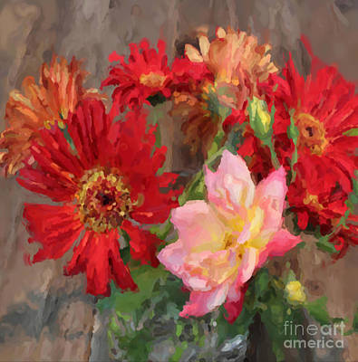 Gerber Daisy Painting -  Gerber Daisies Rose  Oil Painting by Heinz G Mielke