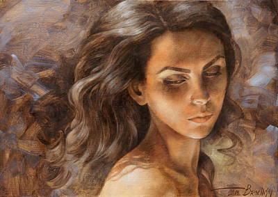 Wall Art - Painting -  Girl Portrait2 by Arthur Braginsky