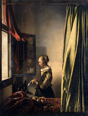 Master Painting -  Girl Reading A Letter By An Open Window by Johannes Vermeer