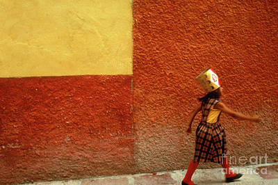 Photograph -  Girl Wearing A Party Hat San Miguel De Allende by John  Mitchell