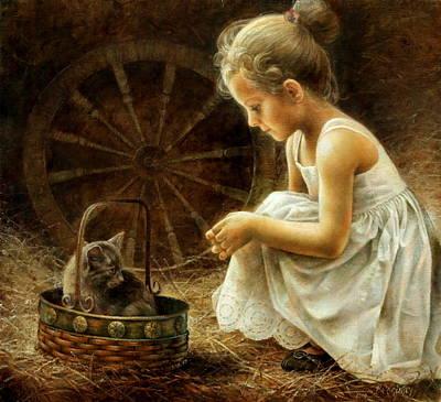 Girl With Kitten Original by Arthur Braginsky