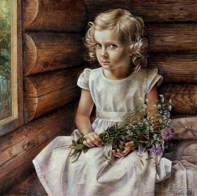 Wall Art - Painting -  Girl With Wild Flowers by Arthur Braginsky