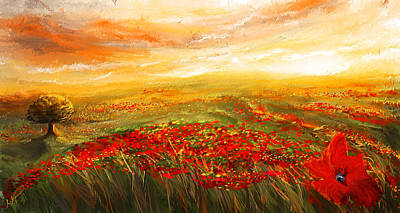 Tuscan Sunset Painting -  Glowing Rhapsody - Poppies Impressionist Paintings by Lourry Legarde