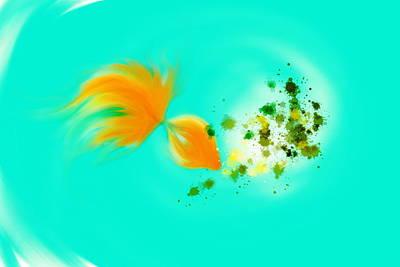 Garden Scene Mixed Media -  Gold Fish 1 by Len YewHeng