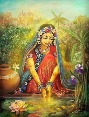 Painting -  'gold' Radha by Lila Shravani