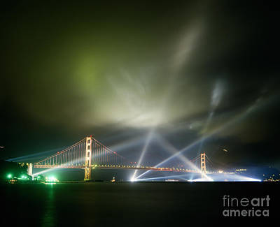 Lightshow Photograph -  Golden Gate At Fifty by Tracy Knauer