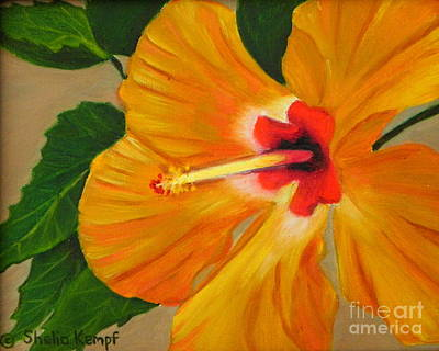 Art Print featuring the painting  Golden Glow - Hibiscus Flower by Shelia Kempf