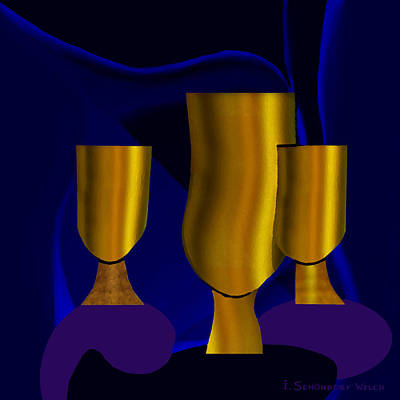 Luminous Digital Art -  Golden Goblets - 782 by Irmgard Schoendorf Welch