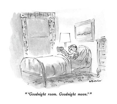 Man Reading Drawing -  'goodnight Room. Goodnight Moon.' by James Stevenson