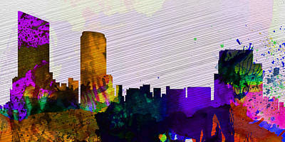Landscape Mixed Media -  Grand Rapids City Skyline by Naxart Studio