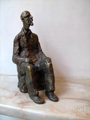 Nikola Litchkov Sculpture -  Grandfather With Pipe by Nikola Litchkov