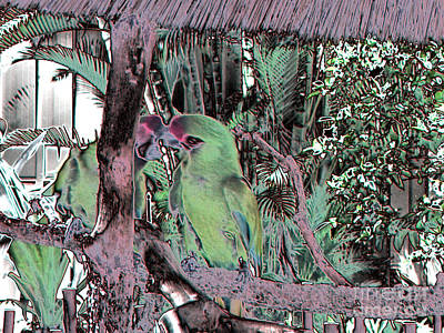 Photograph -  Green Parrots. Art  Design by Oksana Semenchenko