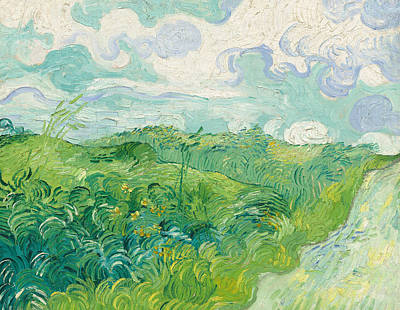 Field. Cloud Painting -  Green Wheat Fields Auvers by Vincent van Gogh