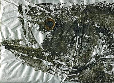 Blue Marlin Mixed Media -  Gyotaku - Striped Bass - Striper Chase by Jeffrey Canha