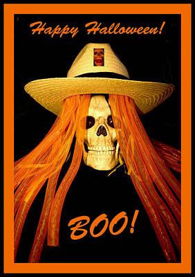 Spooky Digital Art -  Happy Halloween Skull by Barbara Snyder