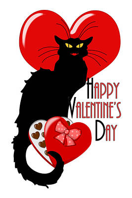 Candy Digital Art -  Happy Valentine's Day Le Chat Noir by Gravityx9  Designs