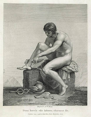 Hermes Wall Art - Drawing -  He Puts On His Winged Shoes by Mary Evans Picture Library